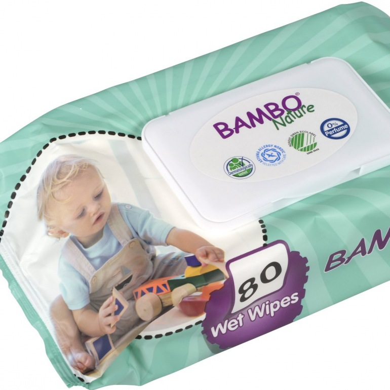 Abena Bambo Nature Baby Wet Wipes - Large - Plastic Lid